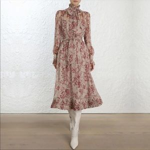 Vintage Rose Floral High Neck Ruffled Midi Dress